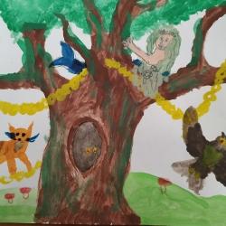 У Лукоморья дуб зеленый Бақтыгереева Жания 6 лет